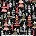 Christmas Cotton Fabric-Modern Color Trees on Black