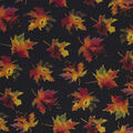 Harvest Cotton Fabric-Watercolor Leaves On Black Glitter