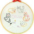 Penguin & Fish 8\u0027\u0027 Round Customizable Hand Embroidery Kit-Kitties