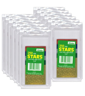 "1/2"" Presto-Stick Foil Star Stickers Assorted 12 Packs"