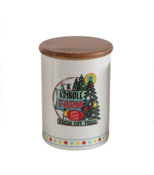 Christmas Ceramic Jar with Bamboo Lid-Holiday Image
