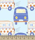 Blue Vintage Bus Print Fabric