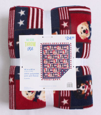 No Sew Fleece Throw Kit 48''-Patriotic Pups Patch