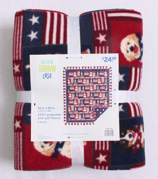No Sew Fleece Throw Kit 48''-Patriotic Pups Patch