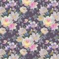 Super Snuggle Flannel Fabric-Watercolor Floral On Purple