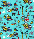 Snuggle Flannel Fabric -Road Work Vehicles