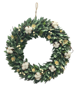 Fresh Picked Spring 18'' Wood Chip & Cotton Wreath