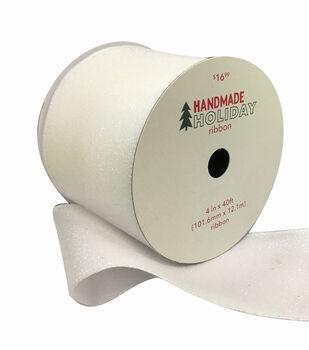 Handmade Holiday Christmas Glitter Ribbon 4''x40'-White