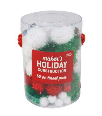 Maker's Holiday Craft Tinsel Pom Poms 50/Pkg-Red, Green & White