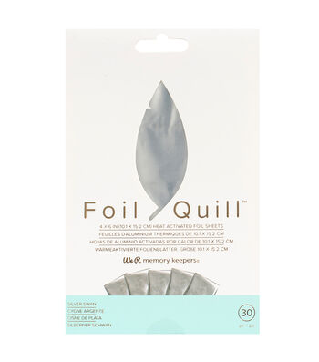 We R Memory Keepers Foil Quill 30 pk 4''x6'' Foil Sheets-Silver Swan