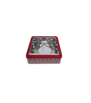 Handmade Holiday Christmas Medium Square Cookie Tin-Snowman