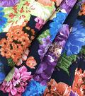 Silky Stretch Chiffon Fabric-Navy Multi Shana Floral