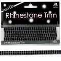 Iron On 2 Row Rhinestone Trim Black/Silver