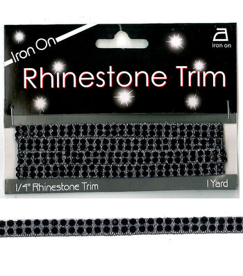 Iron On 2 Row Rhinestone Trim Black/Silver