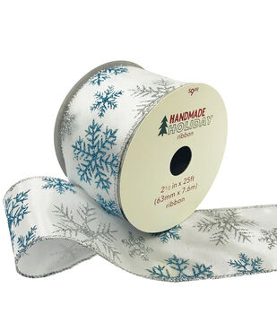 Handmade Holiday Ribbon 2.5''x25'-Blue & Silver Snowflakes on White