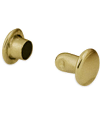 """Double Cap Rivet Extra Small .1875"""" 100/Pkg-Brass Plated"""