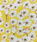 Knit Prints Double Brushed Polyester Fabric-Yellow White Border Floral