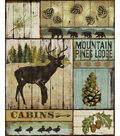 Novelty Cotton Fabric Panel 44\u0022-Mountain Lodge