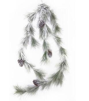Handmade Holiday Christmas 66'' Flocked Longleaf Pine & Pinecone Garland
