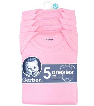 Gerber 5pk Pink Onesies 3-6M