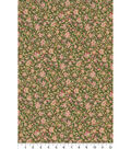 Asian Inspired Cotton Fabric 44\u0022-Mini Packed Floral Green Met