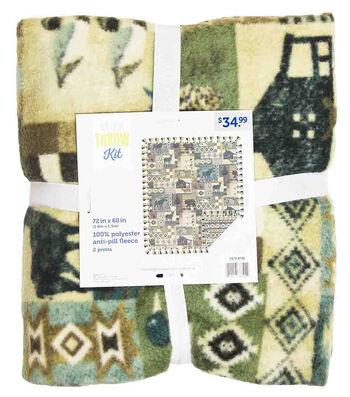 "No Sew Fleece Throw 72""-Lodge Woodland"
