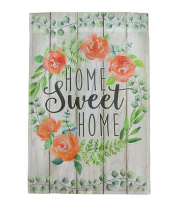 Hello Spring Gardening 12''x18'' Fabric Flag-Home Sweet Home & Floral