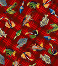 Snuggle Flannel Fabric -Lures On Plaid