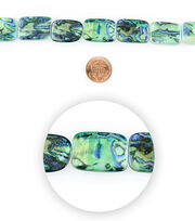 Blue Moon Bead Strands Shell Rectangles Marble Blue, , hi-res