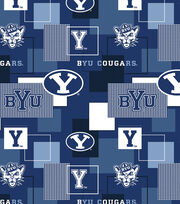 Brigham Young University Cougars Cotton Fabric 43''-Modern Block, , hi-res