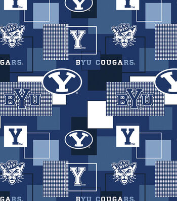 Brigham Young University Cougars Cotton Fabric 43''-Modern Block