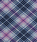 Luxe Flannel Fabric 42\u0022-Gray Black Plum Plaid