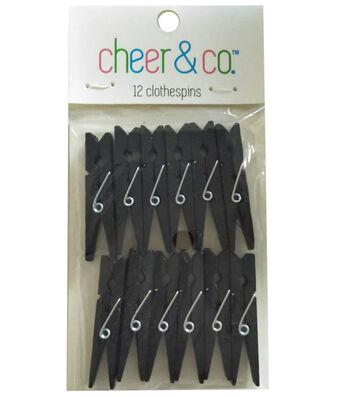 Cheer & Co. 12 pk Small Clothespins-Black