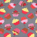 Blizzard Fleece Fabric-Cupcakes on Gray