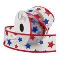 Offray Wired Edge Ribbon 1 1/2\u0022x9\u0027-Patriotic Stars
