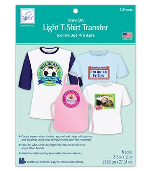 "Light T-Shirt Iron-On Ink Jet Transfer Sheets 8.5""X11"" 6/Pkg"
