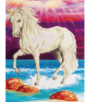 "Diamond Embroidery Facet Art Kit 26.5""X22.5""-Magical Unicorn"