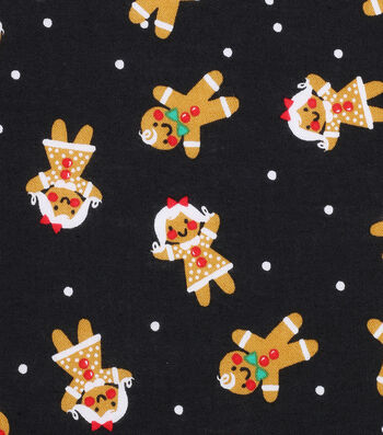 Christmas Cotton Fabric 43''-Gingerbread on Black