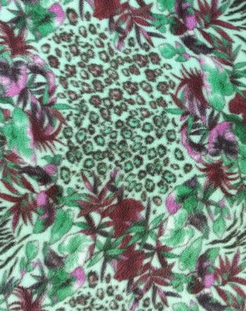 Tropical Floral & Animal Skin Fleece Fabric 59''