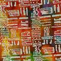 Textured Batik Apparel Fabric-Dots & Dashes on Red, Orange & Green