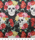 Halloween Spirit Satin Fabric-Skull Rose Print