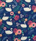 Doodles Juvenile Apparel Fabric -Swan Lake Interlock