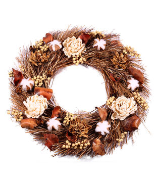 Blooming Autumn Dried Sola Flowers & Cotton Wreath-Rustic & Natural