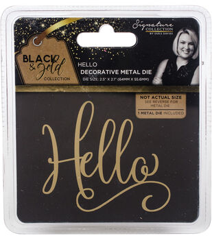 Sara Davies Signature Black & Gold 2.5''x2.1'' Metal Die-Hello