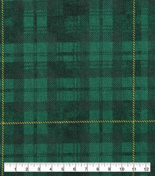 St. Patrick's Day Cotton Fabric-Green & Yellow Plaid