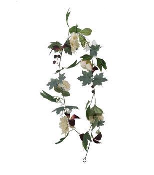 Blooming Autumn Dahlia & Rose Garland-Ivory