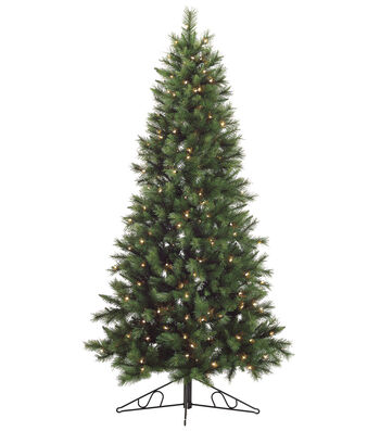 Canyon Pine Wall Tree on Metal Stand with Clear Lights 7.5'