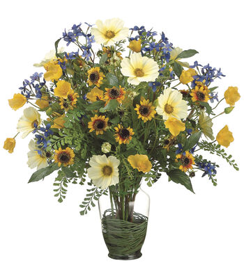 Bloom Room Luxe 23'' Cosmos, Poppy, Sunflower & Fern-Yellow