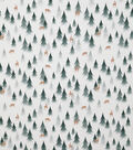 Novelty Cotton Fabric-Pine Trees With Deer