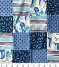 Nursery Patchwork Quilt Fabric-Gordan Whale